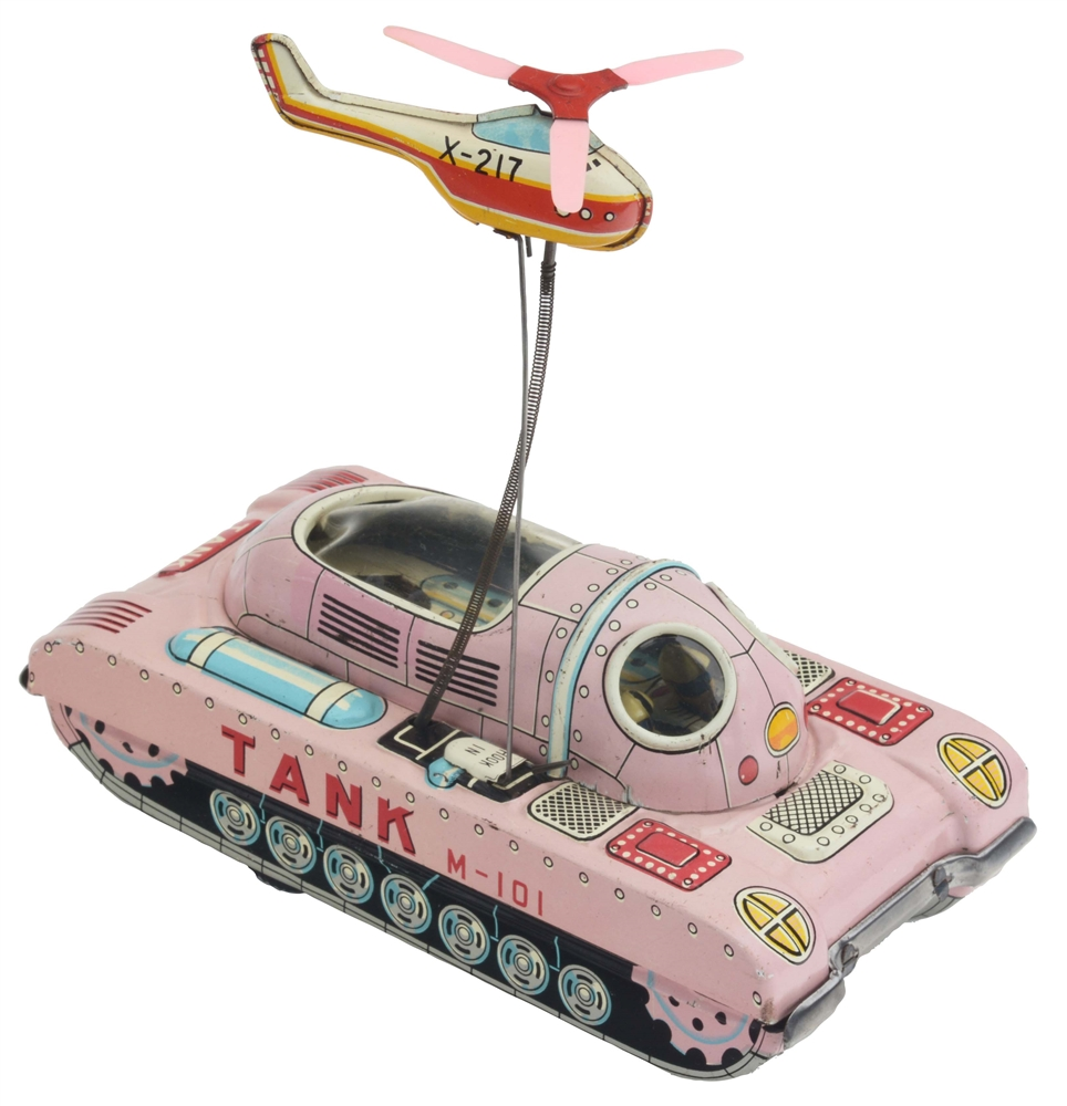 Tin Litho Friction Space Tank M101 with Helicopter.