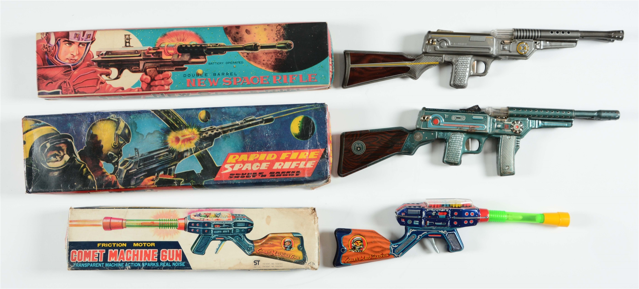 Lot of 3: Tin Lithographed Space Rifles.