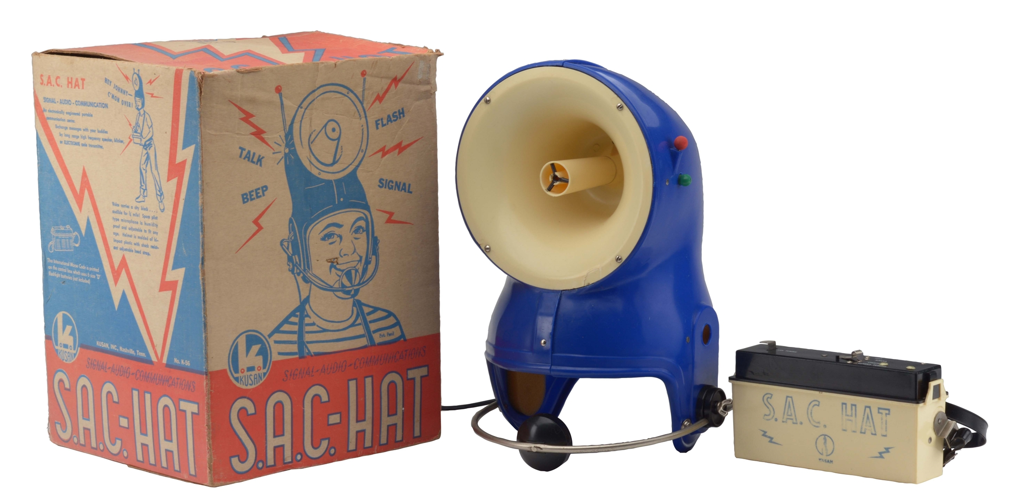 Early Plastic and Metal Battery Operated S.A.C. Space Helmet.