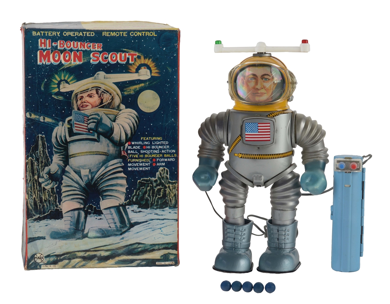 Tin Litho Battery Operated Remote Control High-Bouncer Moon Scout.