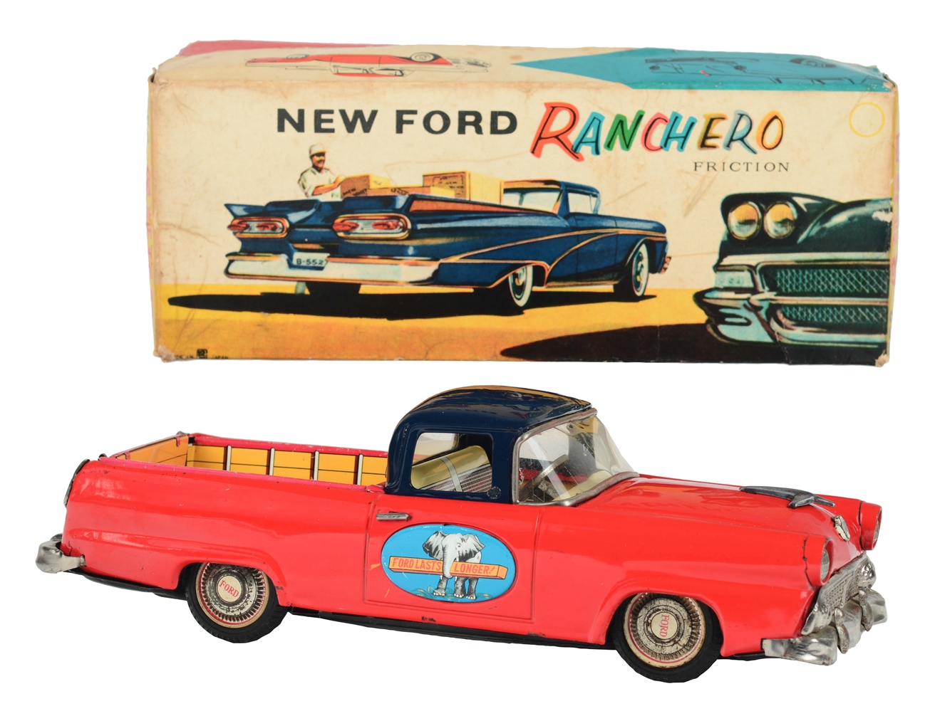 Tin Litho and Painted Friction Ford Ranchero.
