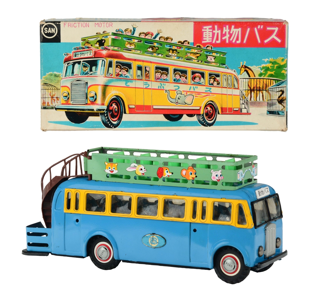 Tin Litho and Painted Friction Animal Bus.