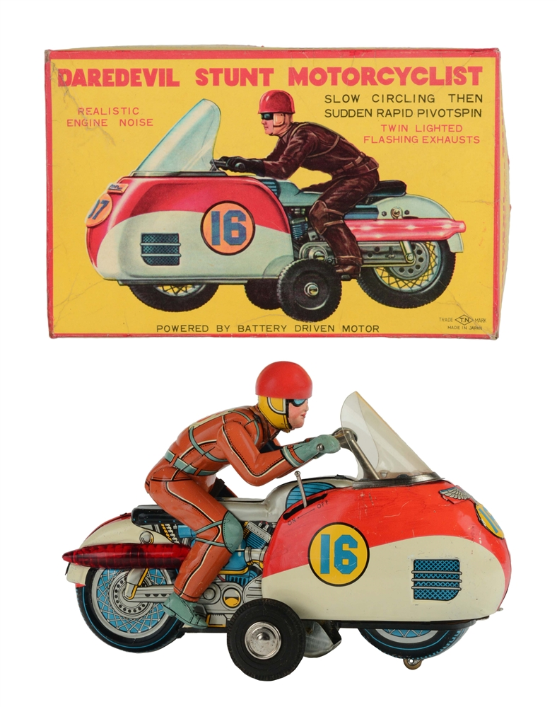 Tin Litho Battery Operated Dare Devil Stunt Motorcyclist.