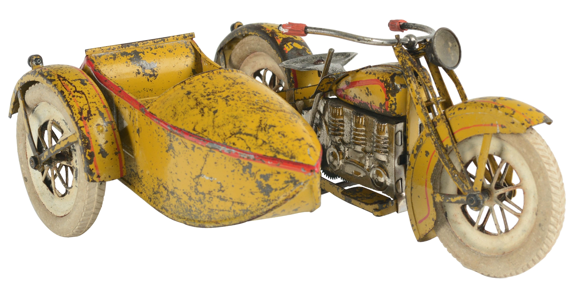 Large Tin Painted Wind Up Pre-War Japanese Motorcycle and Sidecar.