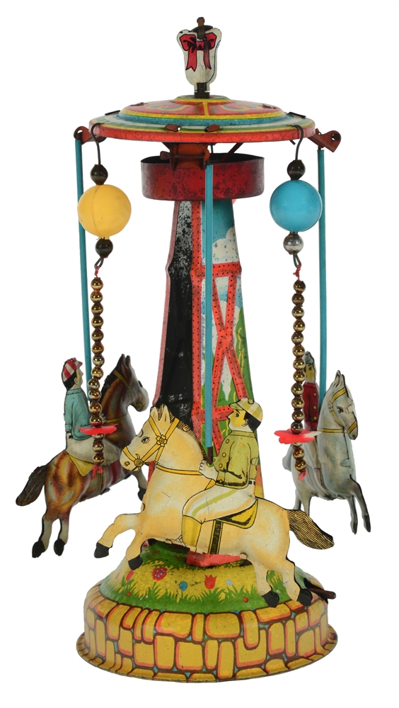 Tin Litho Large Wind Up Pre-War Japan Horse Race Carousel.