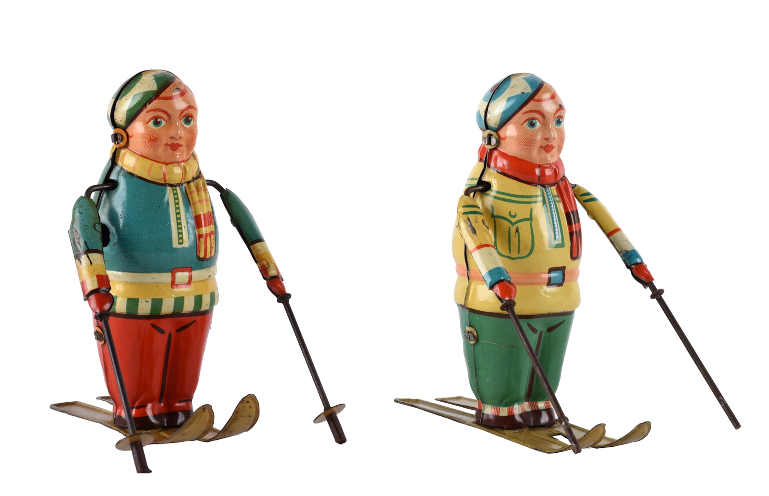 Lot of 2: Tin Litho Wind Up Skiers.