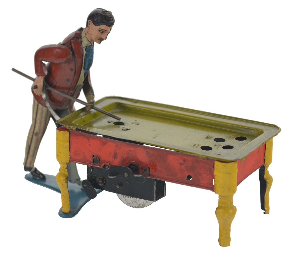 Tin Litho and Hand Painted Billiard Player.