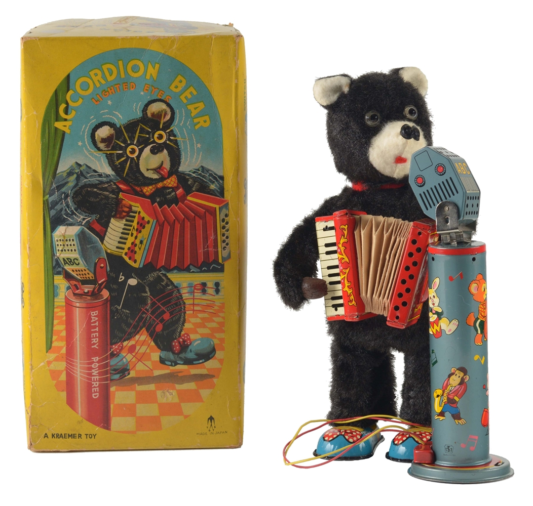 Tin Litho and Fur Covered Battery Operated Accordion Bear.