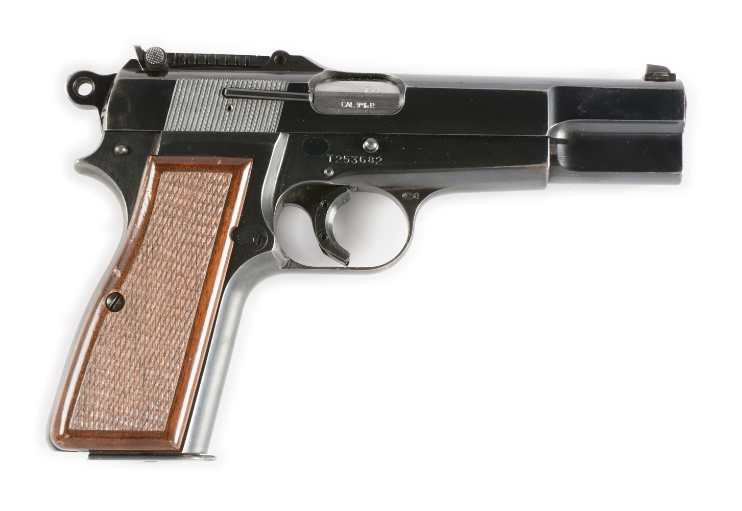 (C) Belgian Browning Hi-Power Semi-Automatic Pistol with Tangent Sight (1968).