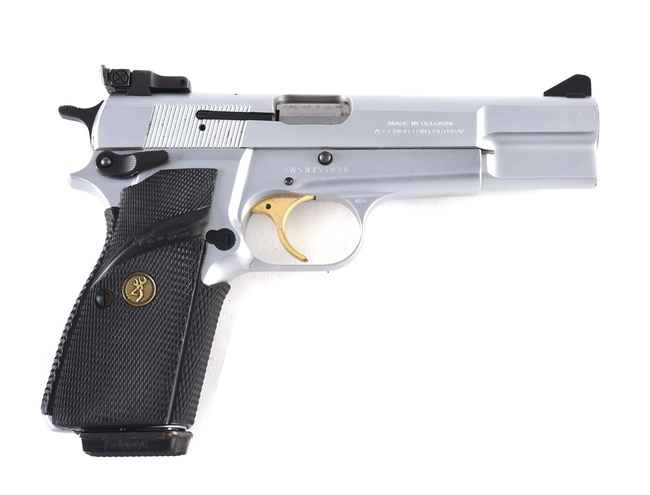 (M) Cased Browning Hi-Power Target Semi-Automatic Pistol.