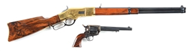 Cased Pair of Miniature Ubert Lever Action Rifle and Single Action Revolver.
