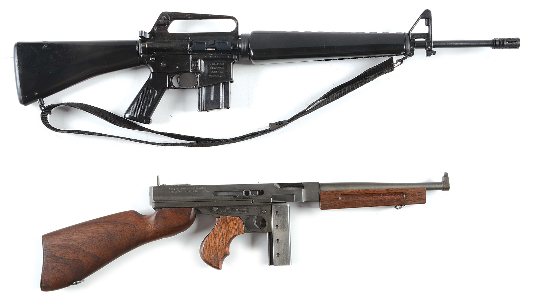 Lot of 2: American Miniature Arms Miniature M16 and Cased Miniature Auto-Ordnance Thompson Submachine Gun.