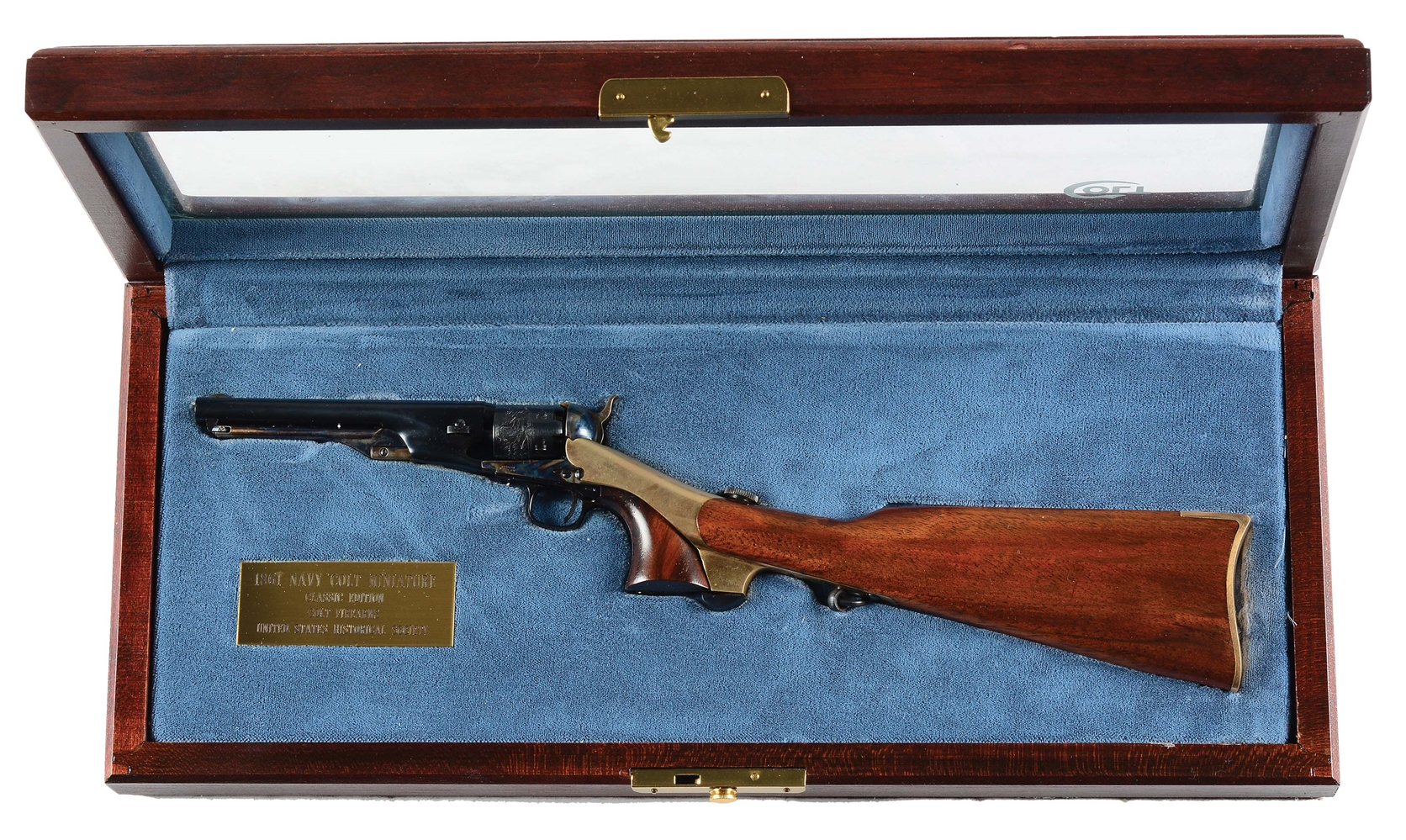 Cased United States Historical Society Colt 1861 Navy Miniature Revolver with Matching Stock.