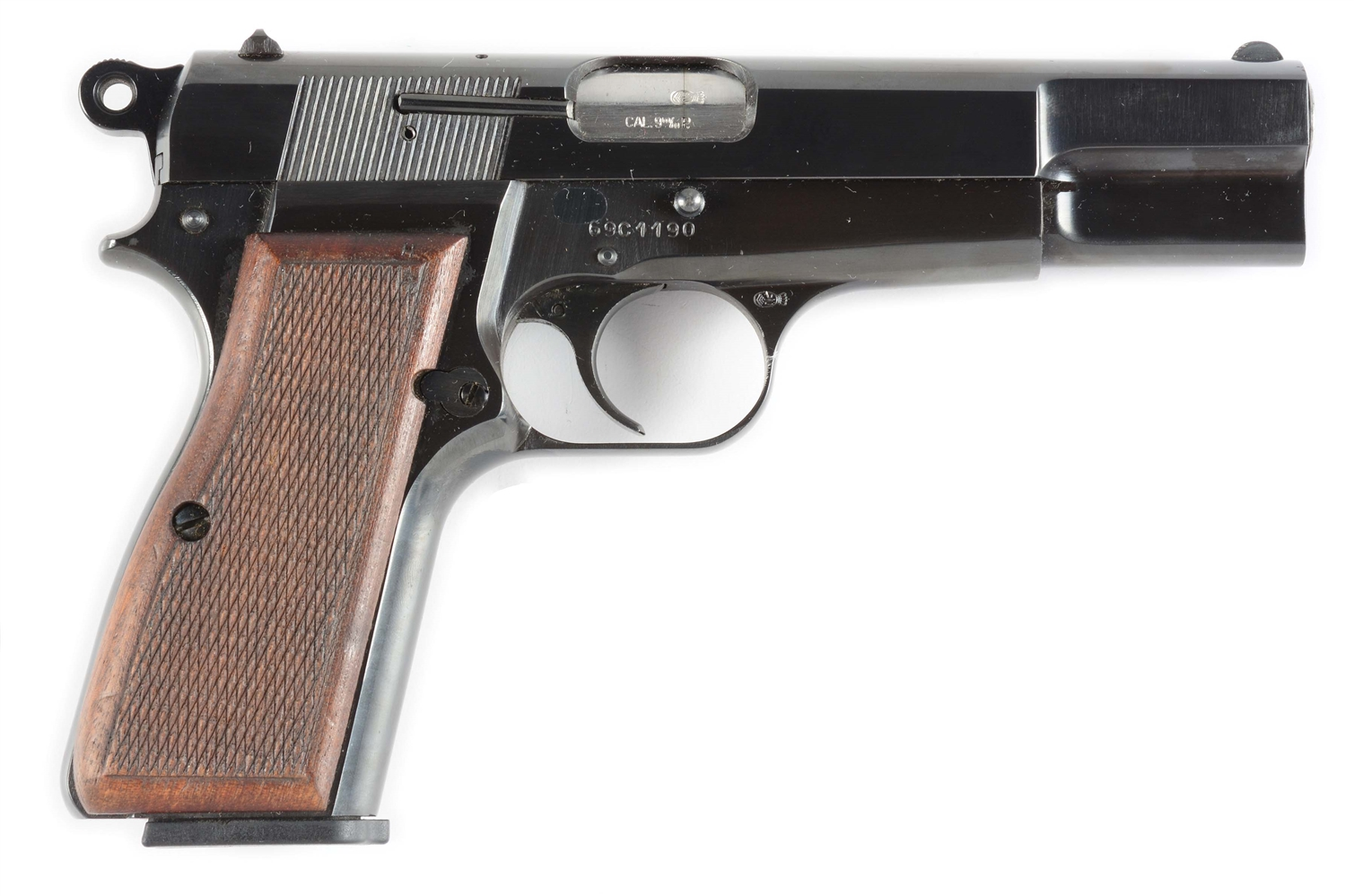 (C) Browning High Power Semi-Automatic Pistol (1969).