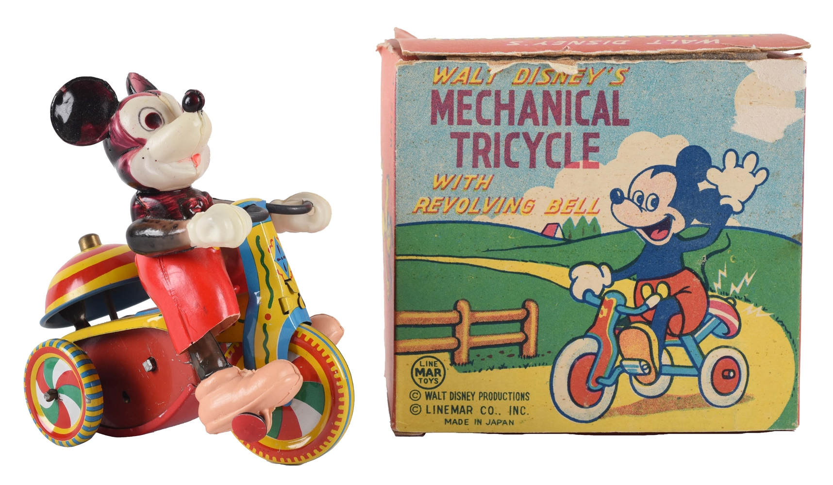 Japanese Linemar Walt Disney Wind Up Mickey Mouse Tricycle With Box.