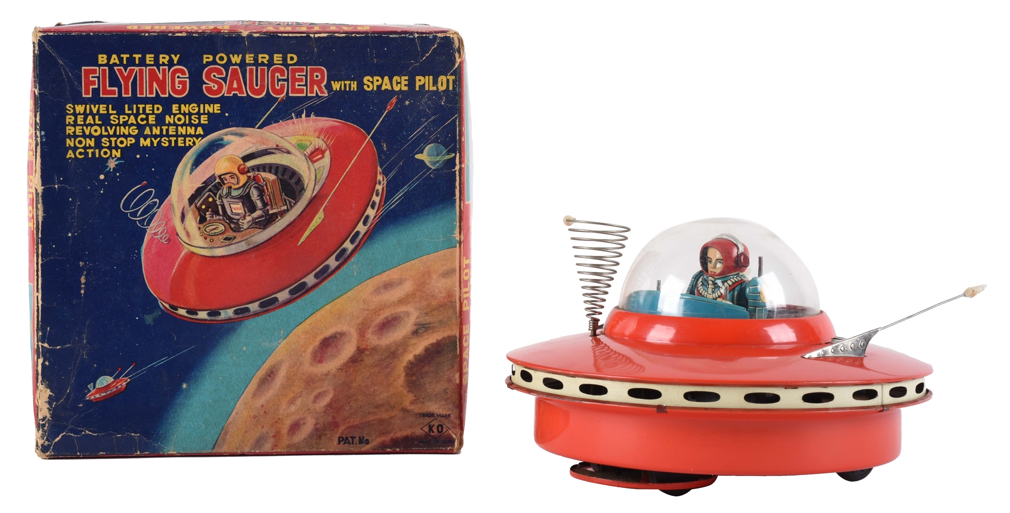 Japanese Tin Litho Battery Operated Flying Saucer With Box.