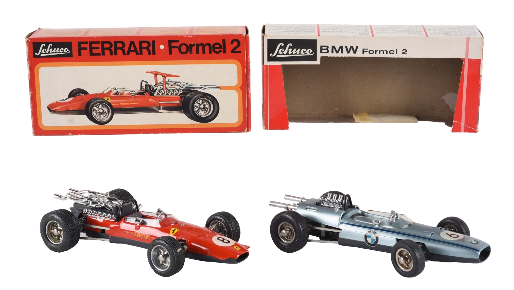 Lot Of 2: German Schuco Wind Up Race Cars In Boxes.