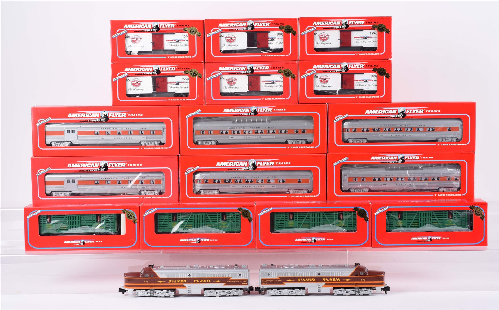 Lot of 6: American Flyer S Gauge Trains.