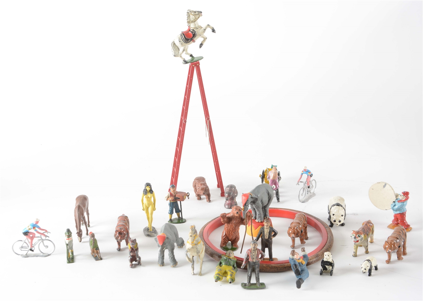 English Charbens Figural Circus Set In Case.