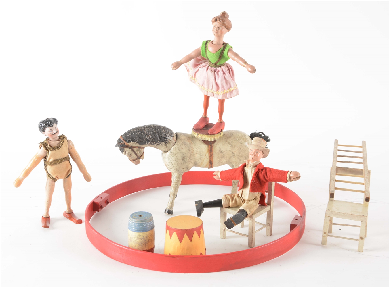 Box of Early Schoenhut Equestrian Circus Act Set.