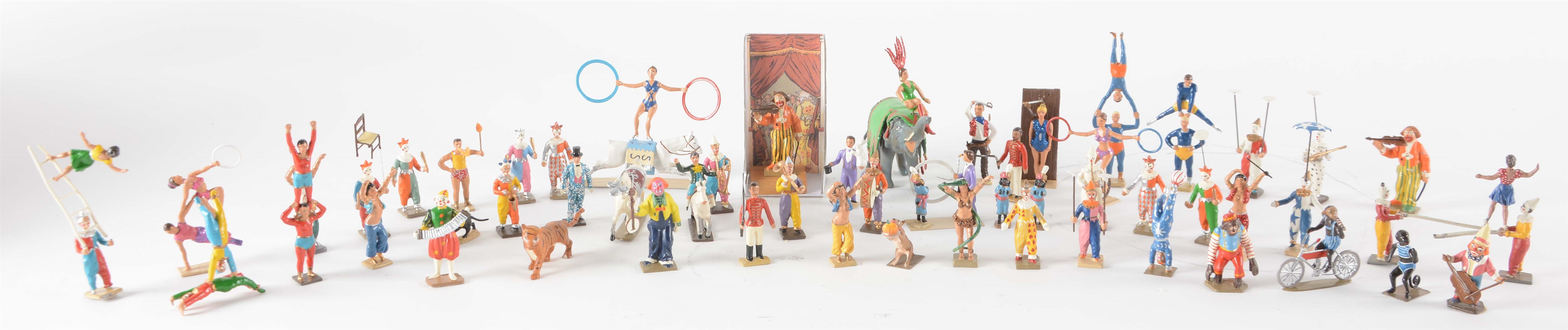 Lot Of 9: Contemporary C.B.G. Minot French Figural Circus Set In Boxes.