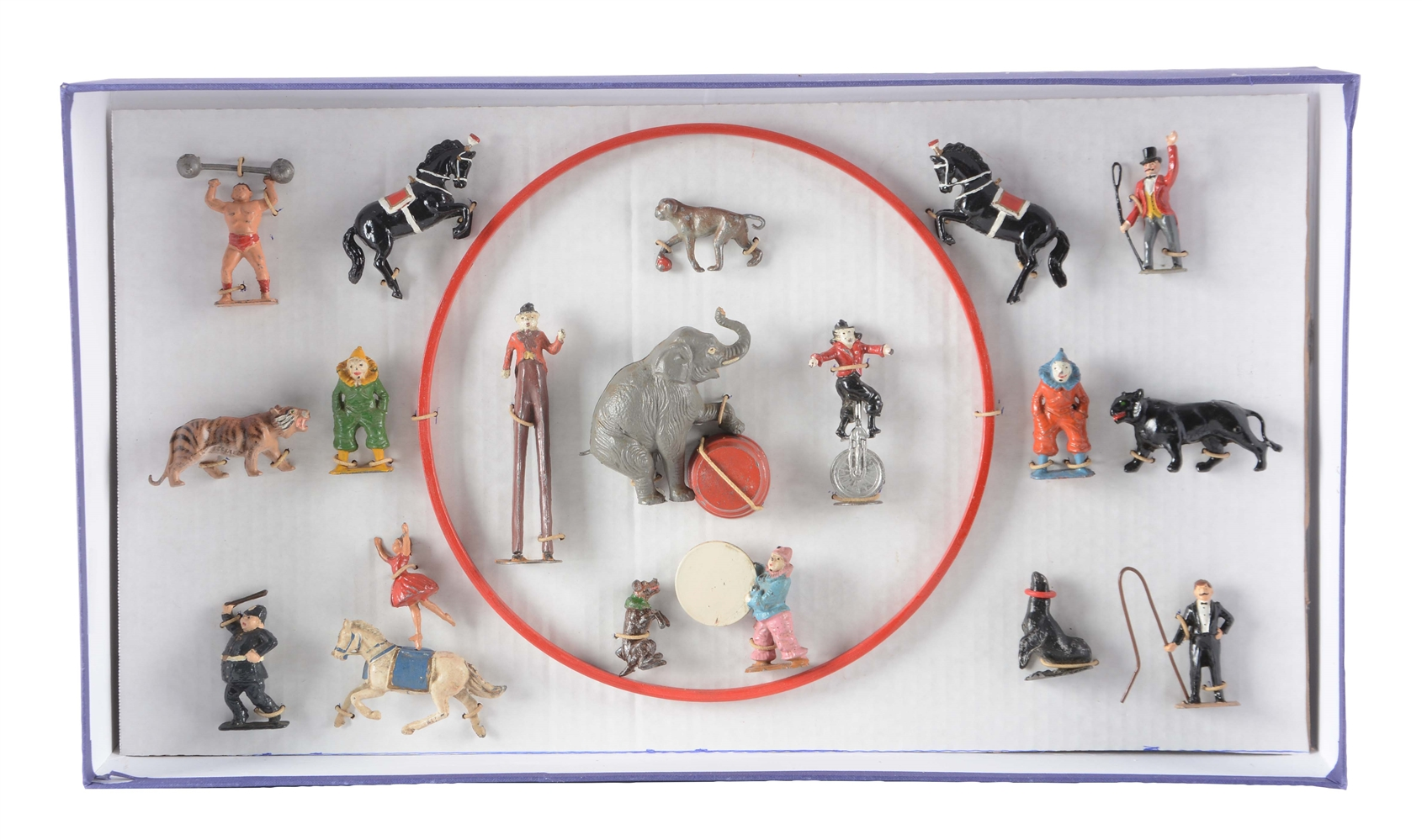 Box Of English Charbens Lead Circus Figure Set.