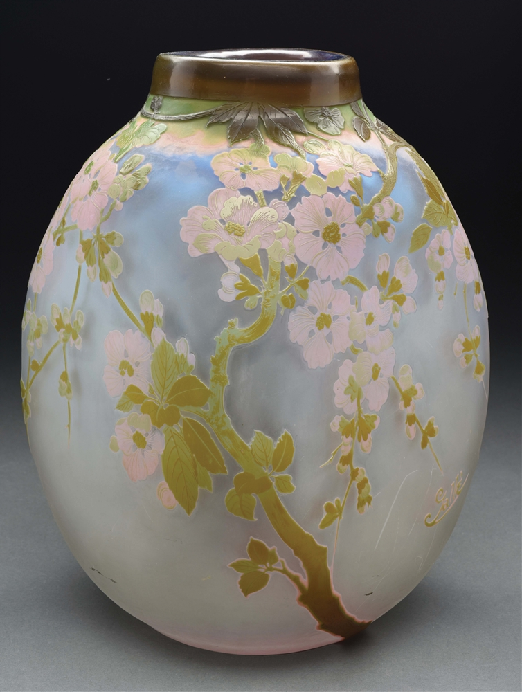 Large Galle Floral Cameo Vase.