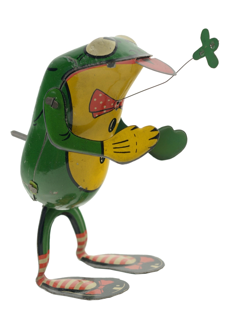 Scarce German Tin Litho Wind Up Frog Toy.