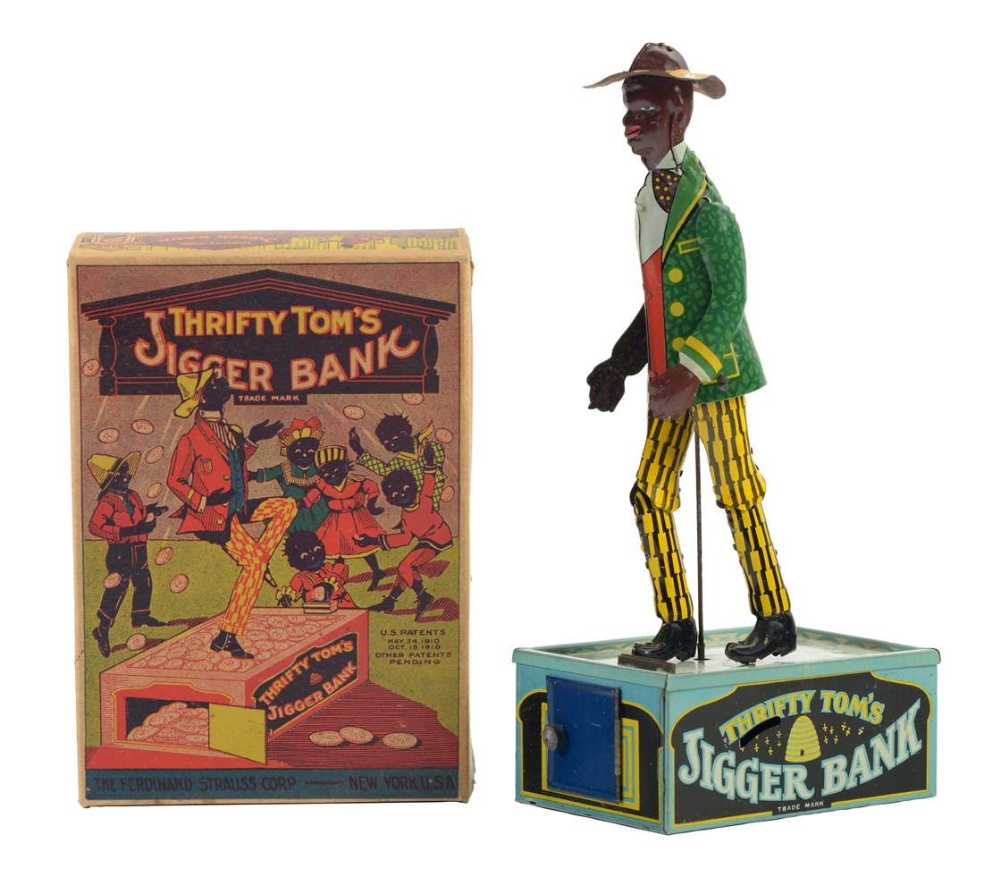 Rare Strauss Tin Litho Wind Up Thrifty Toms Bank with Box.