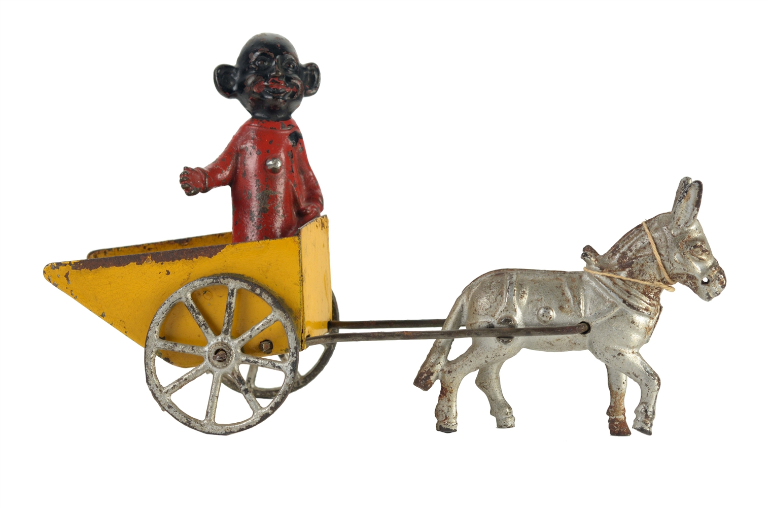 American Made Cast Iron & Tin Donkey-Drawn Yellow Kid Toy.