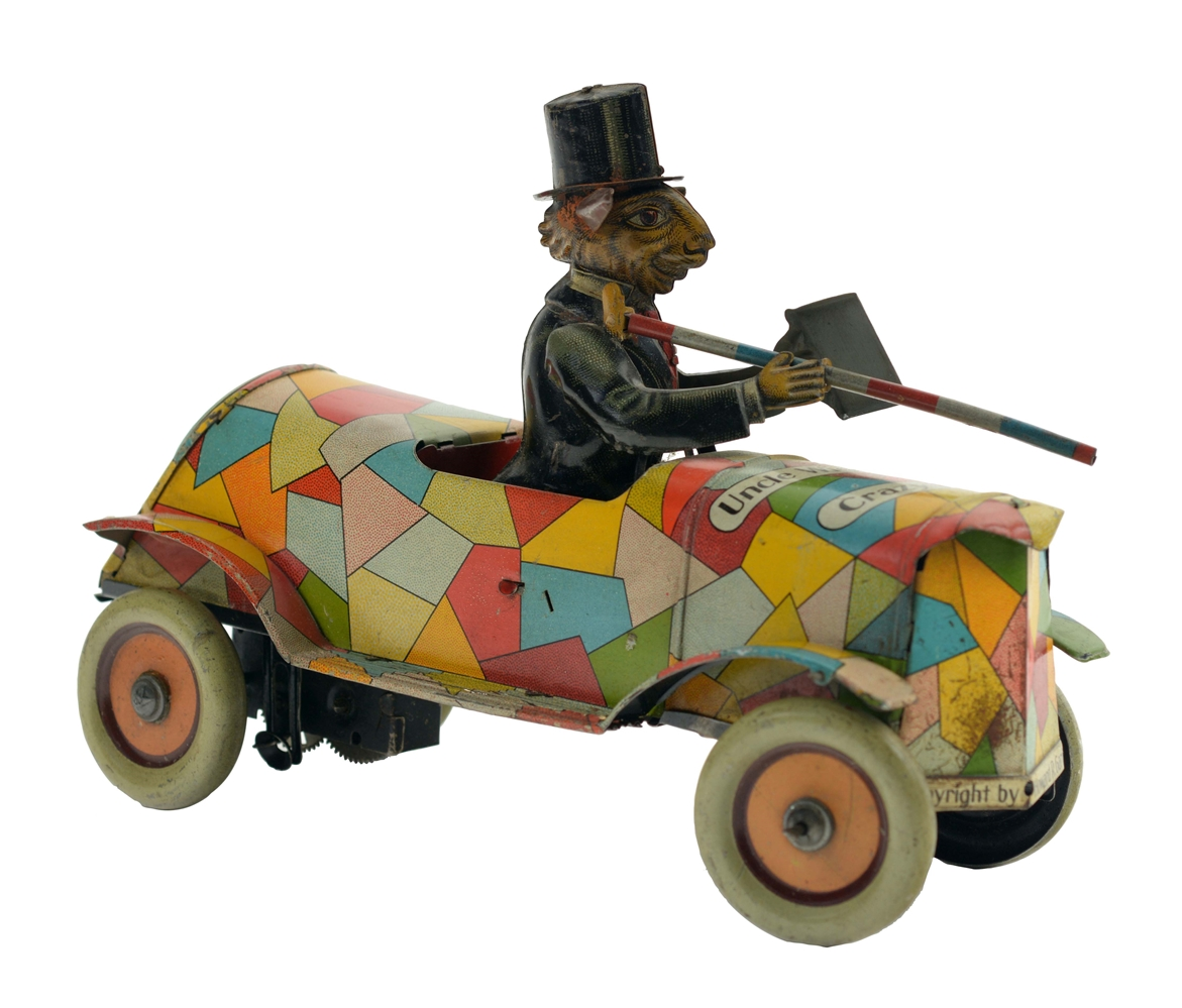 German Distler Tin Litho Wind Up Uncle Wiggily Crazy Car.