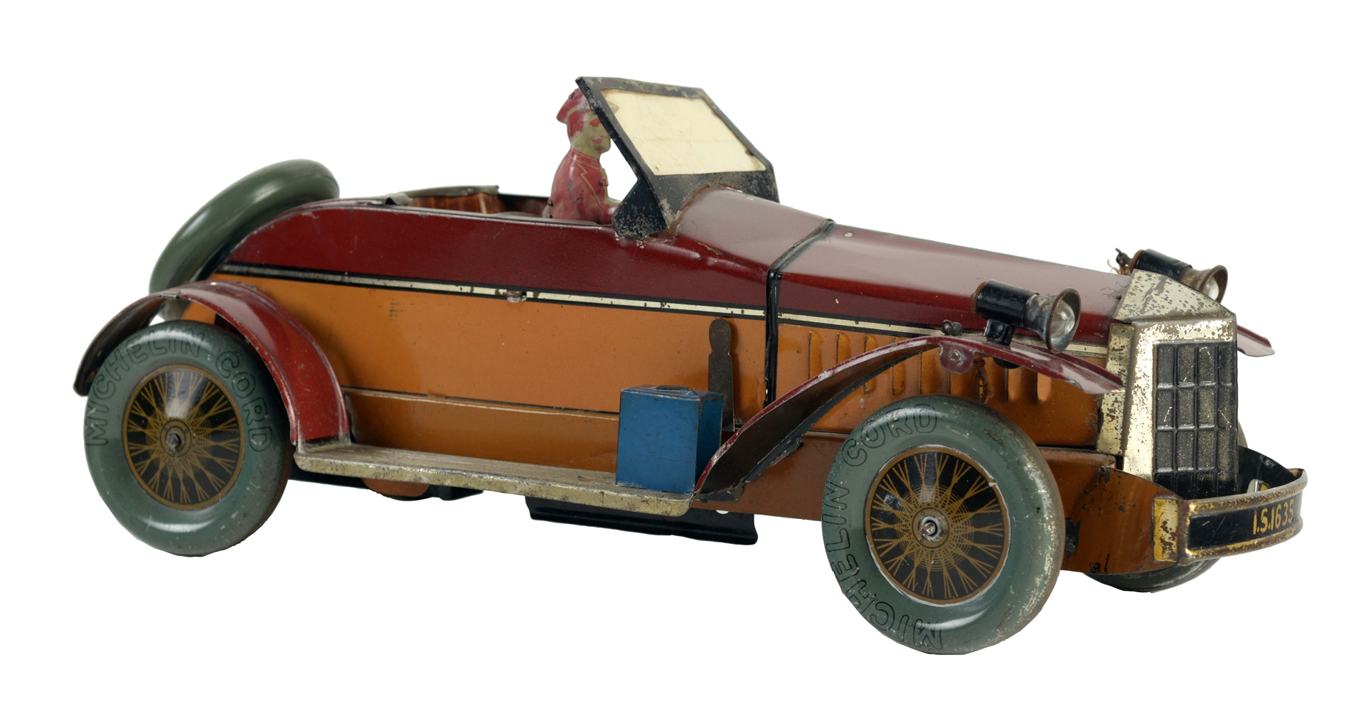 Early English Tin Litho Wind Up Roadster Automobile.