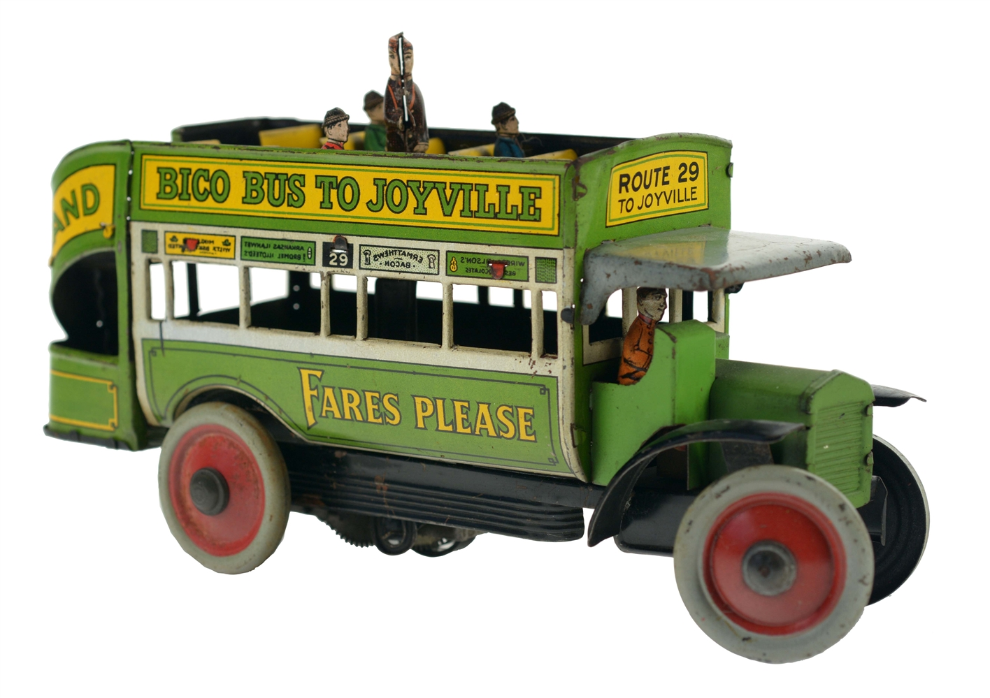 German Nifty Tin Litho Wind Up  Bico Bus To Joyville.