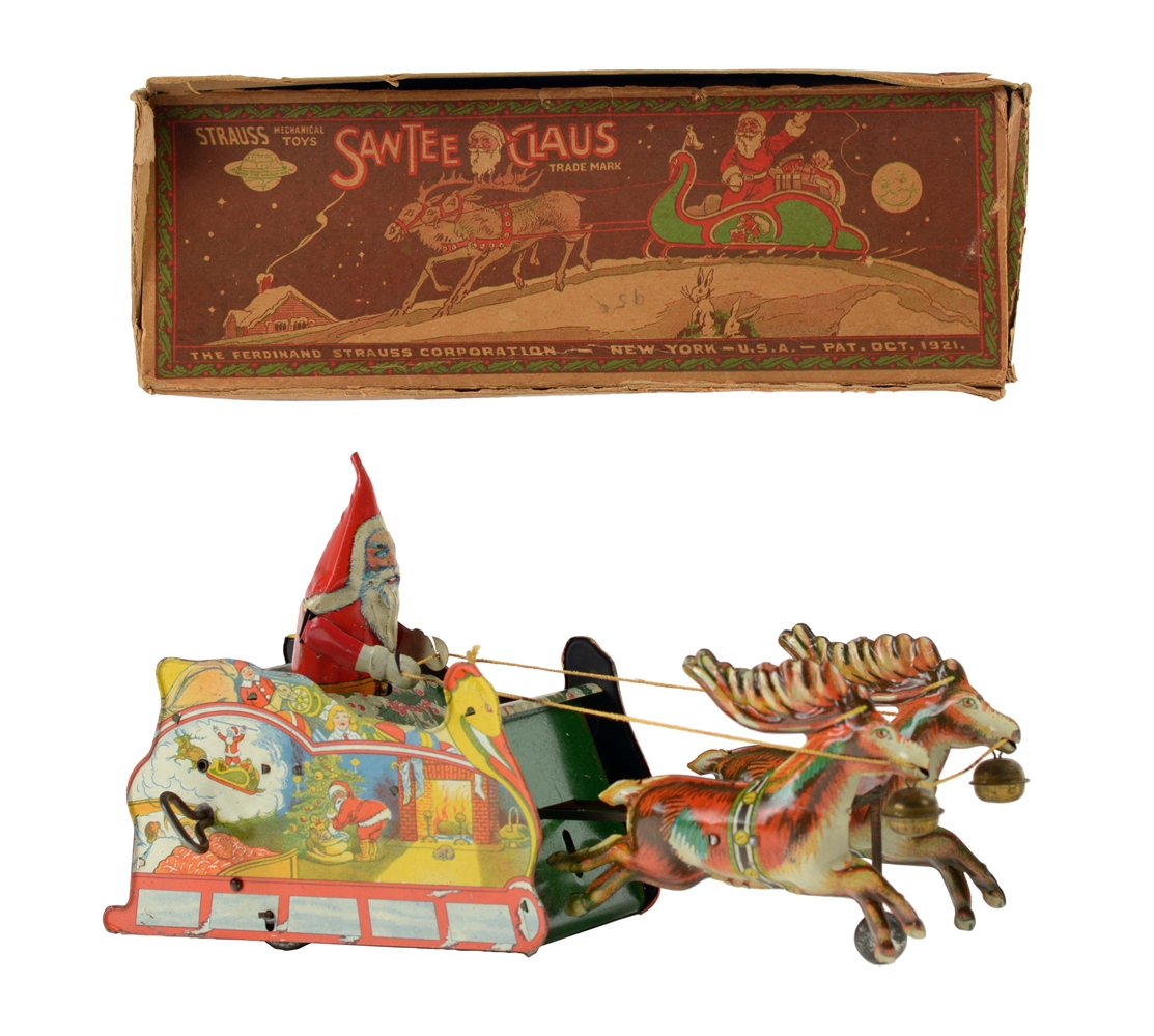 Strauss Tin Litho Wind Up Santee Claus Sleigh Toy.