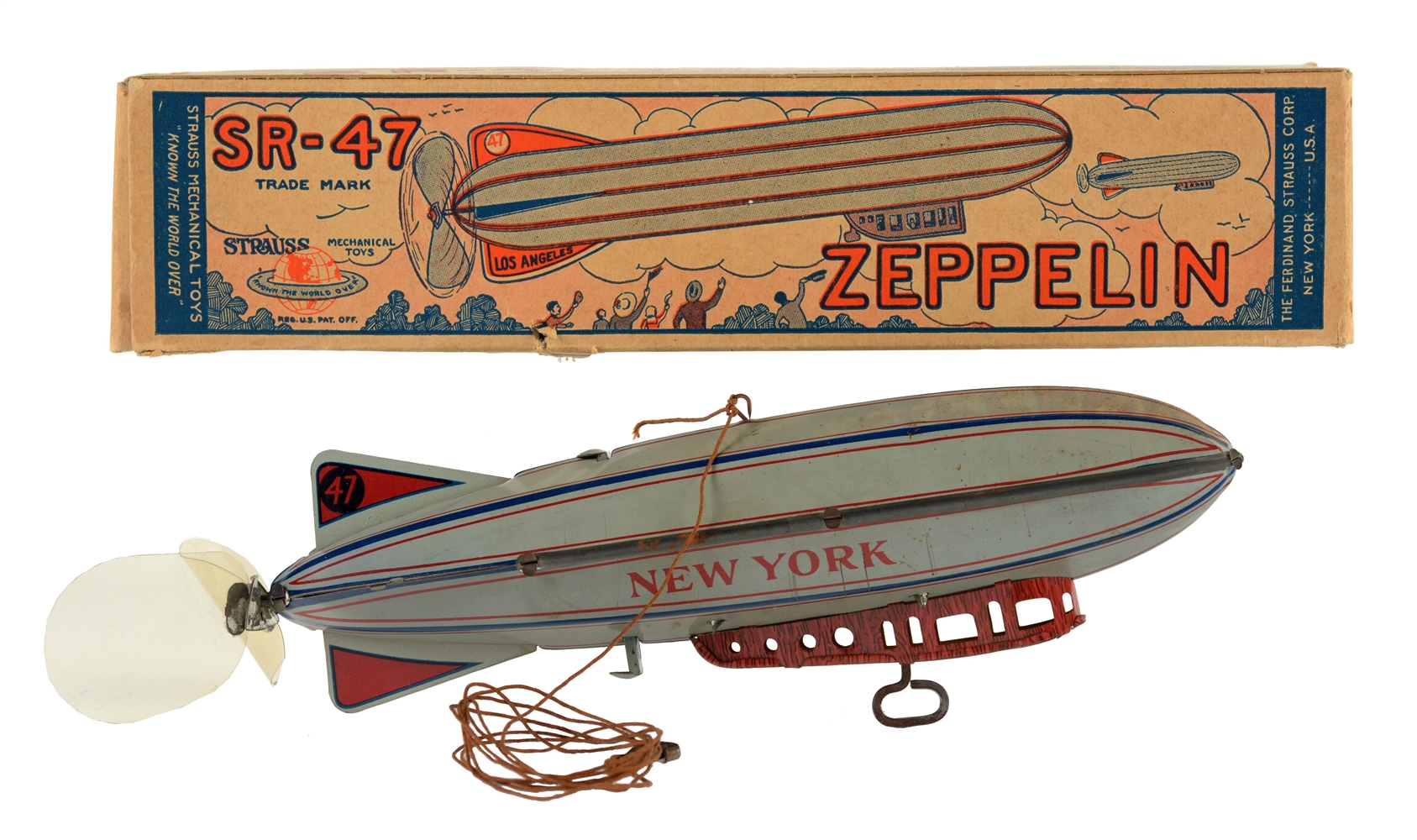 Strauss Tin Litho Wind Up Zeppelin Toy.