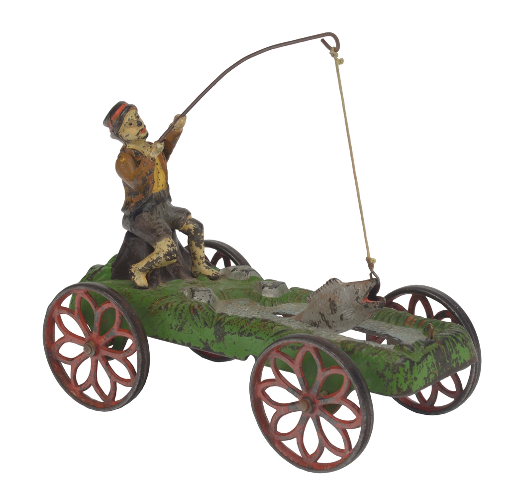Cast Iron American Made Fisherman Floor Toy.
