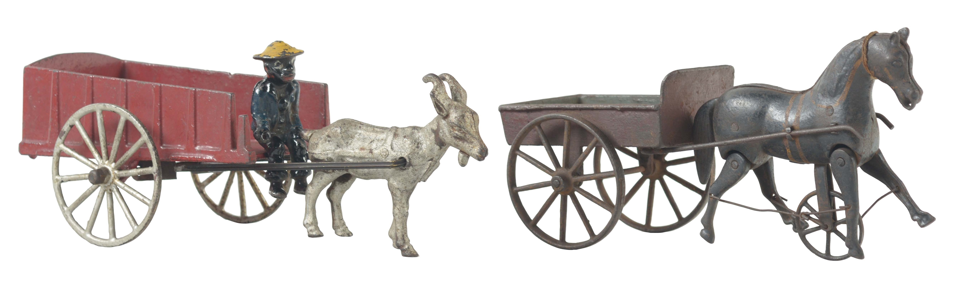 Lot Of 2: Early Cast Iron Animal Drawn Carts.