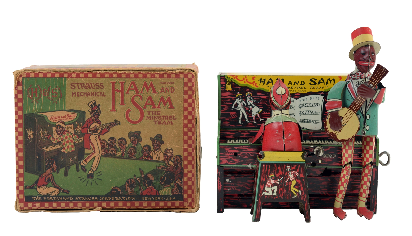 Strauss Tin Litho Wind Up Ham And Sam Minstrel Band With Box.