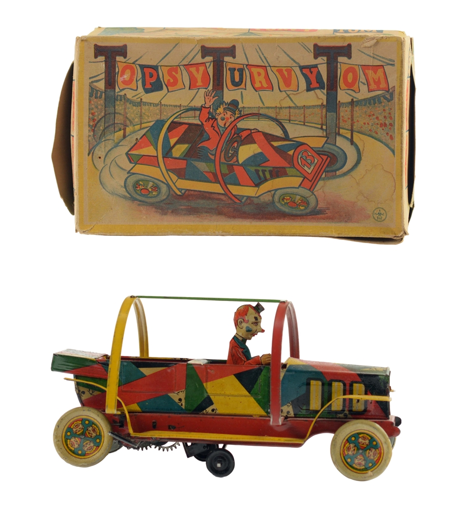 German Tin Litho Wind Up Topsy Turvy Tom Clown Car With Box.