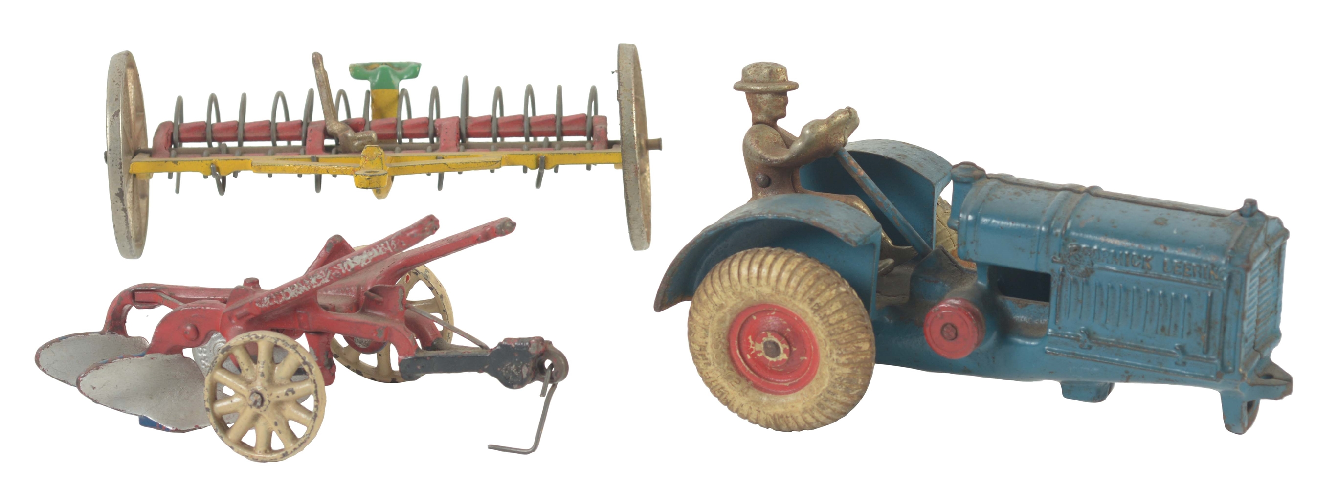 Lot Of 3: American Made Cast Iron Tractor & Impliments.