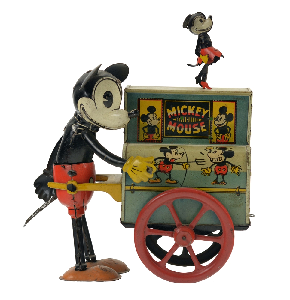 Scarce German Nifty Mickey Mouse Wind Up Organ Grinder Toy.