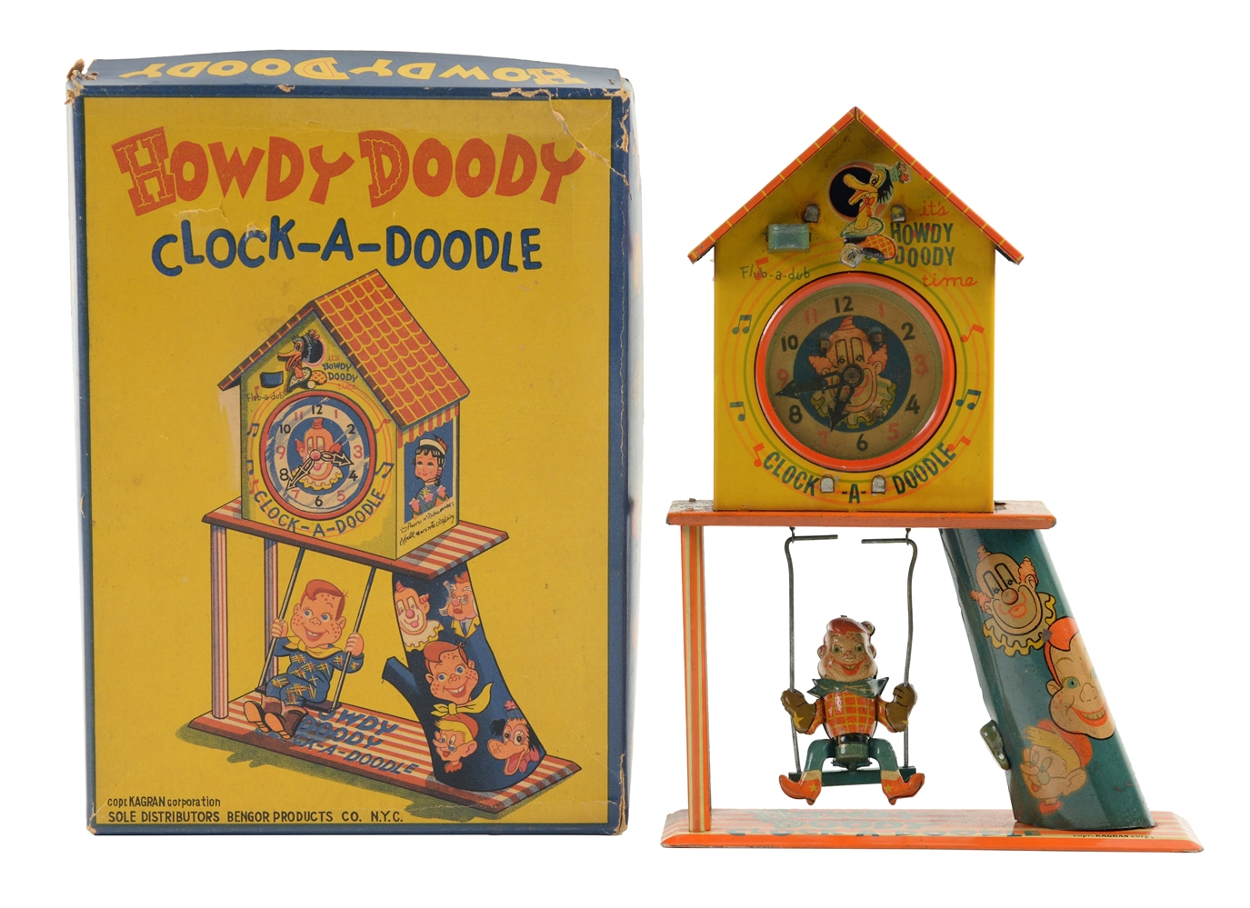 Bandai Tin Litho Wind Up Howdy Doody Clock-A-Doodle.