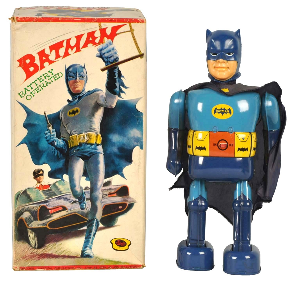 Scarce Japanese Tin Litho Battery Op Batman Walking Toy.