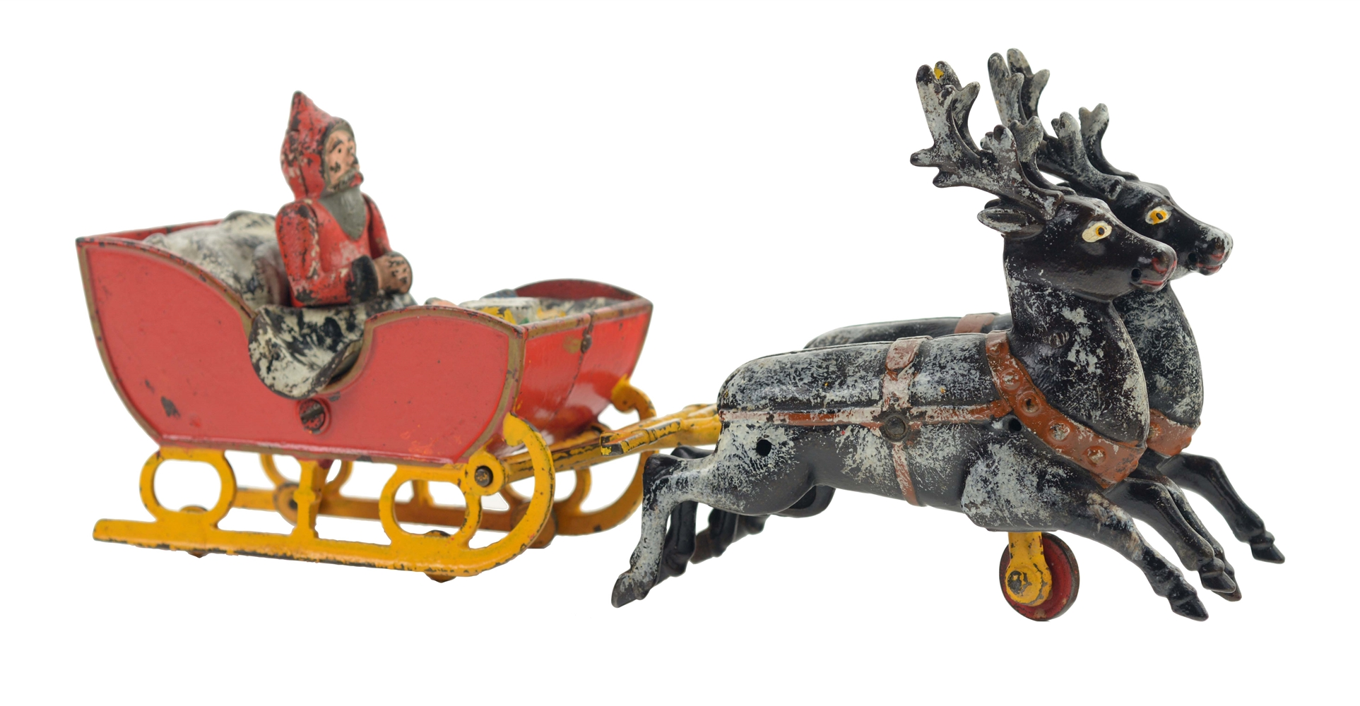 Early Kyser & Rex Cast Iron Santa in Sleigh Toy.