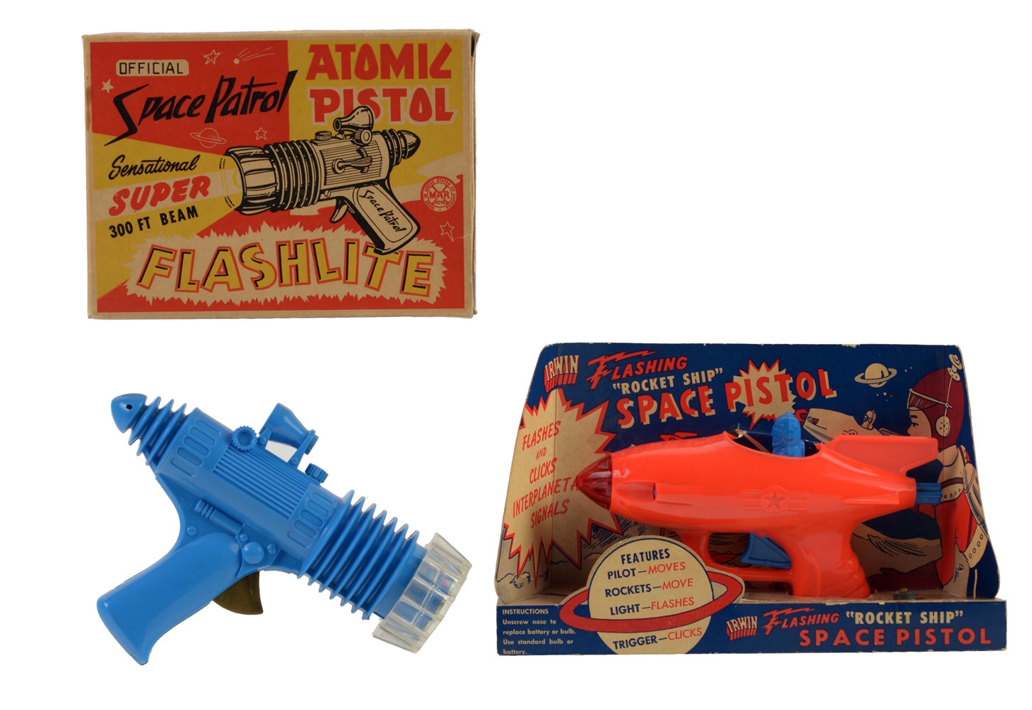 Lot of 2: American Made Plastic Space Pistols.