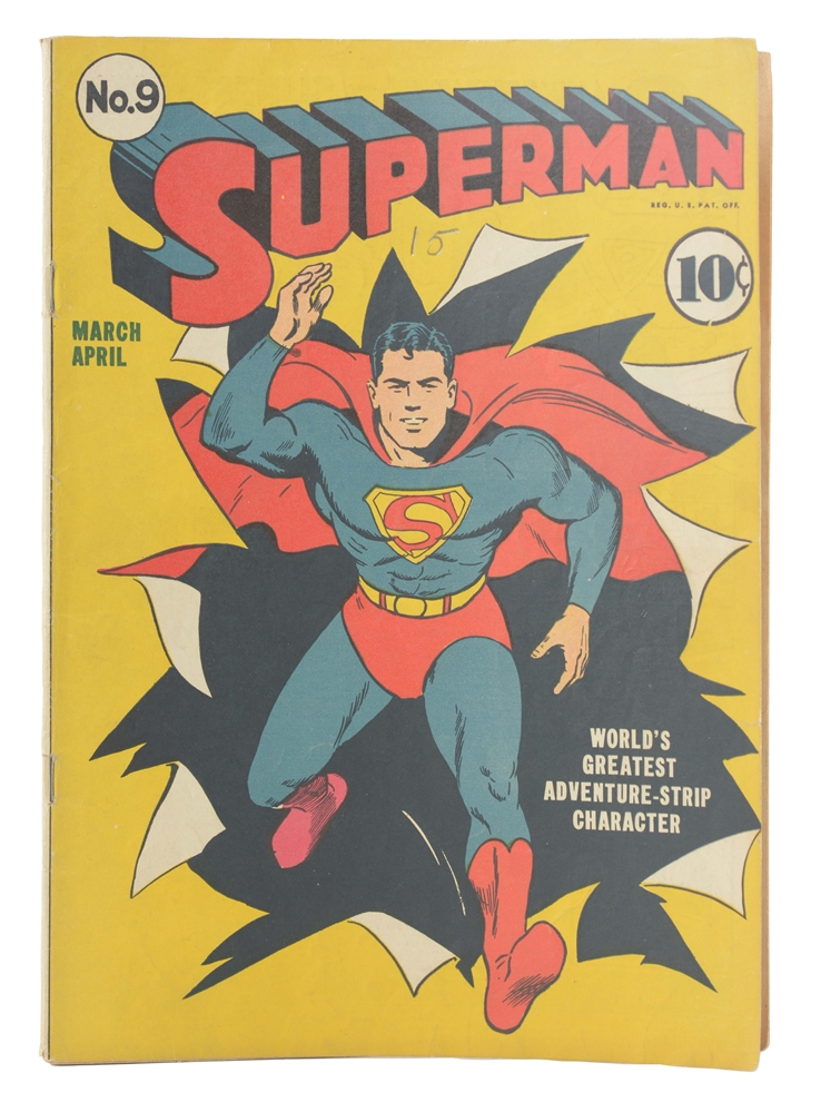 1941 Superman No. 9 Comic Book.