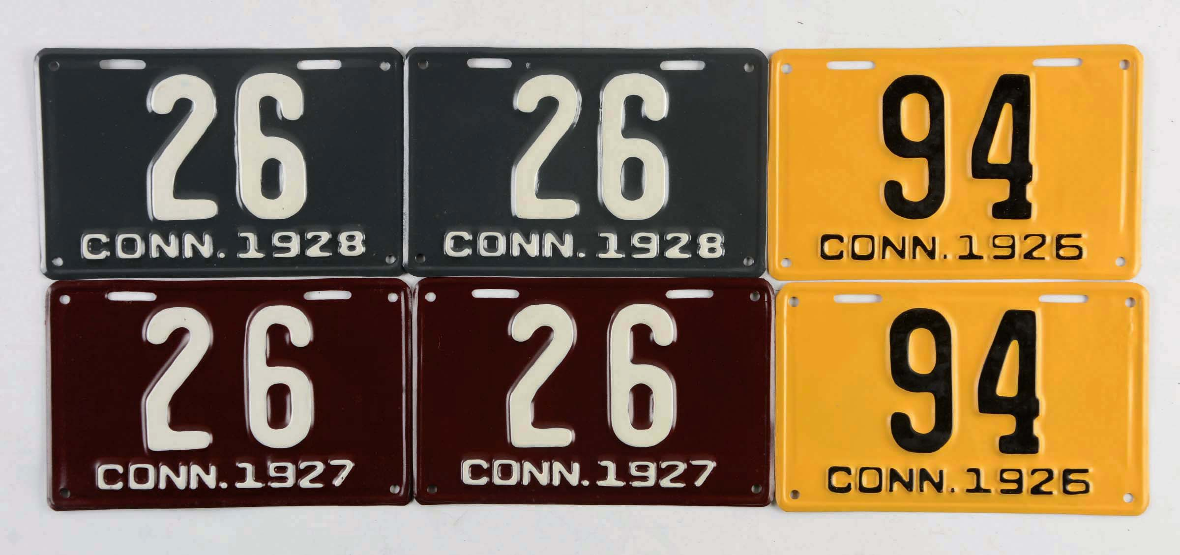 Lot Of 22: 11 Pairs Of Connecticut License Plates 1924-1930.