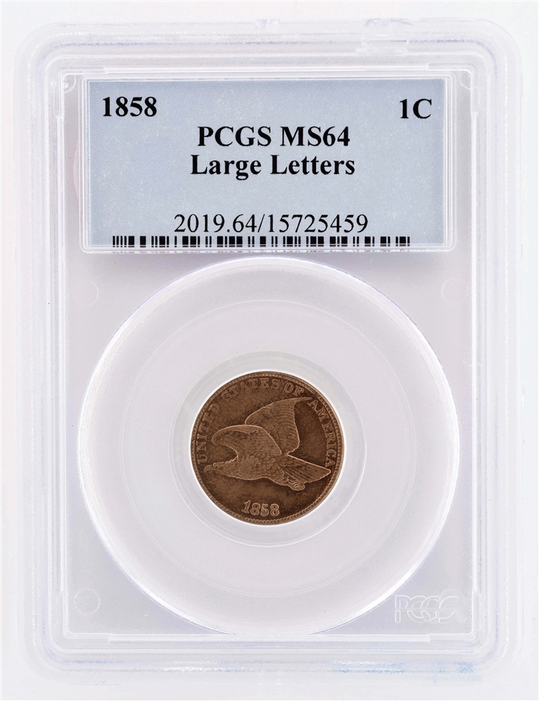 1858 Flying Eagle One Cent Coin.