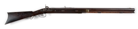 (A) HAWKIN TYPE HALFSTOCK PERCUSSION HEAVY BARREL SPORTING RIFLE.