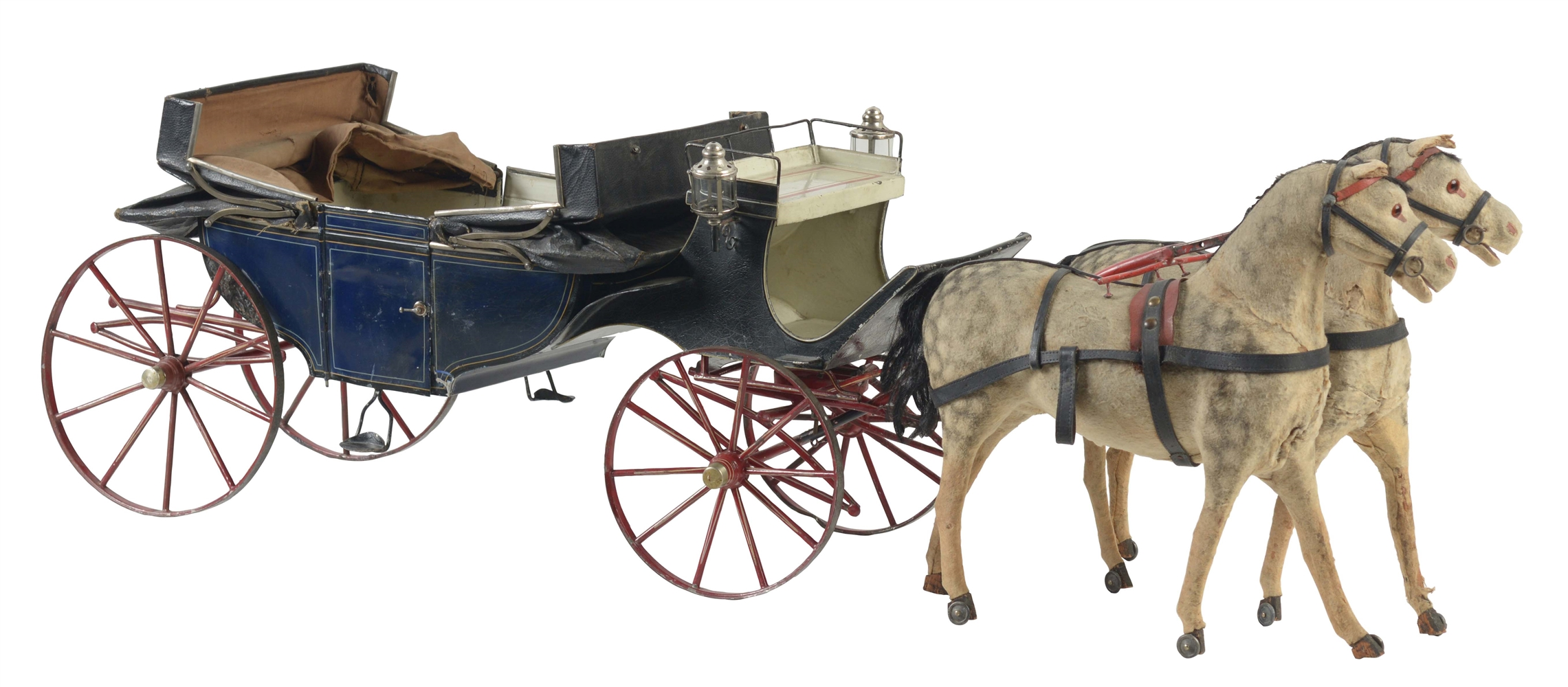 Early German Hand Painted Horse Drawn Carriage.